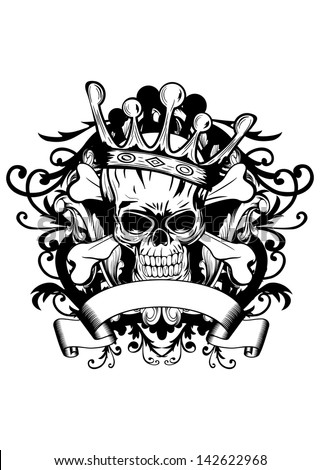 Vector illustration skull with crown - stock vector