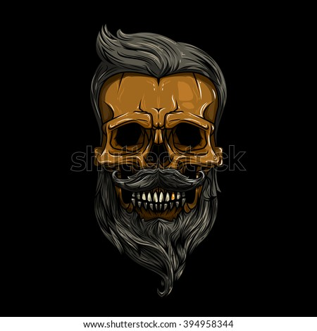 vector, illustration. skull with hair. skull hipster, skull vector, skull logo