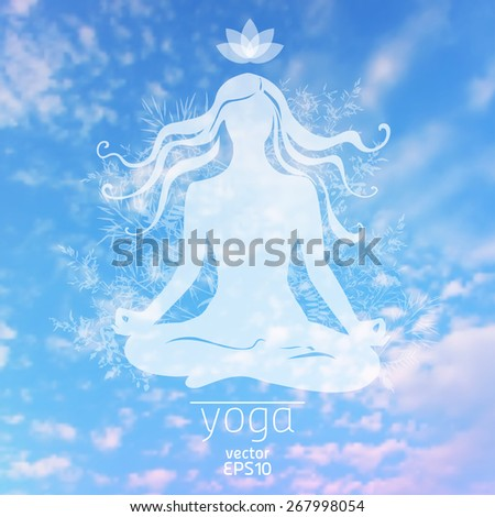 Vector illustration. Sky background with silhouette Girl in the lotus position, and herbs. Ecology and clean air - stock vector