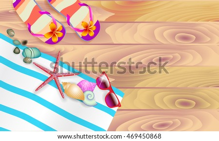 vector illustration slippers, shells, towel, starfish and sea stones on a wooden background