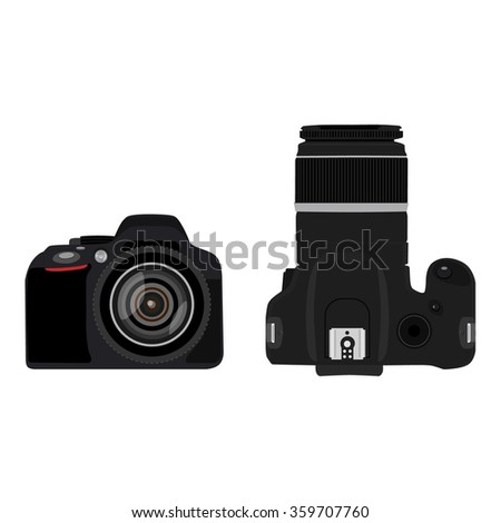 Vector illustration slr camera top and side view . Dslr realistic photo camera icon. Digital camera - stock vector