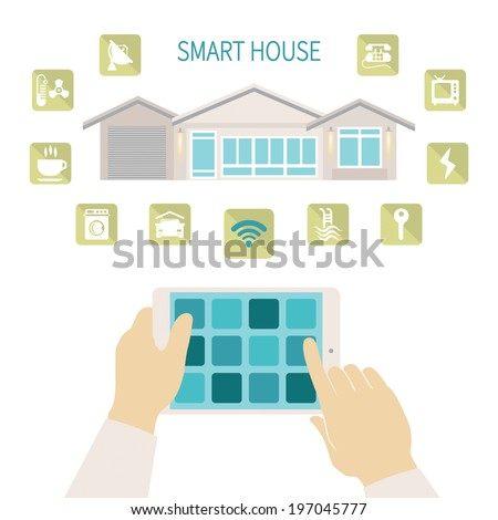 Vector illustration smart house remote wireless management concept with tablet PC