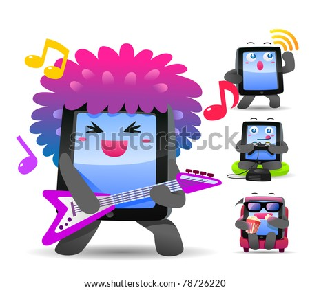 Vector illustration, smart phone, pad, music, game, movie - stock vector