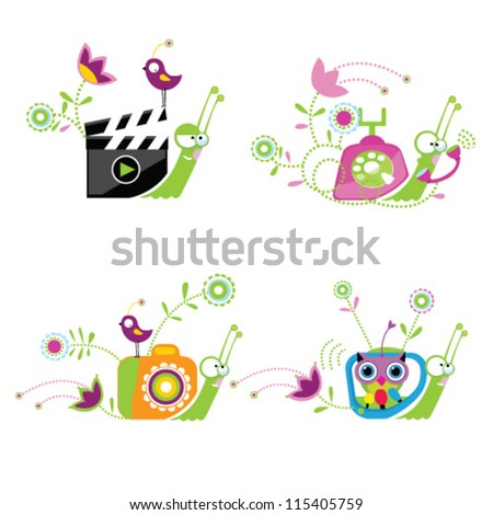 Vector illustration. Snail. Icons set. photo icon, contact us, video icon, phone icon. emoji