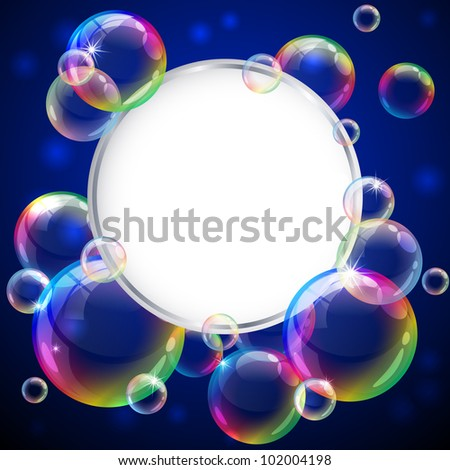 Vector illustration - soap bubbles frame. Eps10 vector file, contains transparent objects and opacity mask. - stock vector