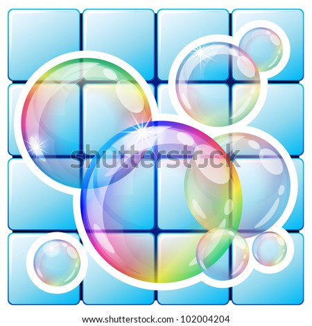 Vector illustration - soap bubbles icon. Eps10 vector file, contains transparent objects and opacity mask. - stock vector