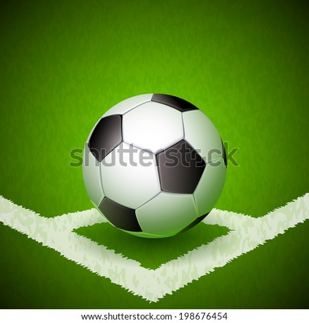 Vector illustration - soccer ball on a green grass  - stock vector