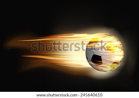 vector illustration Soccer ball on fire - stock vector