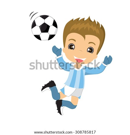 Vector illustration Soccer player, boy playing football isolated on white background