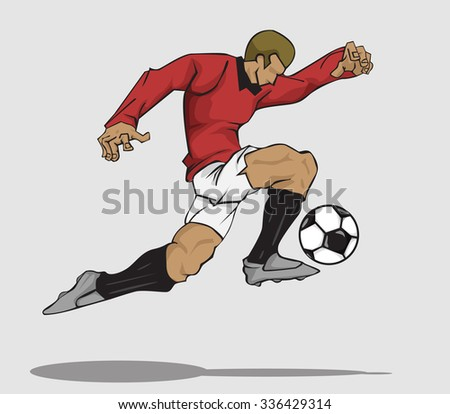 Vector illustration Soccer player kicking the ball