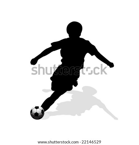 vector illustration soccer player silhouette