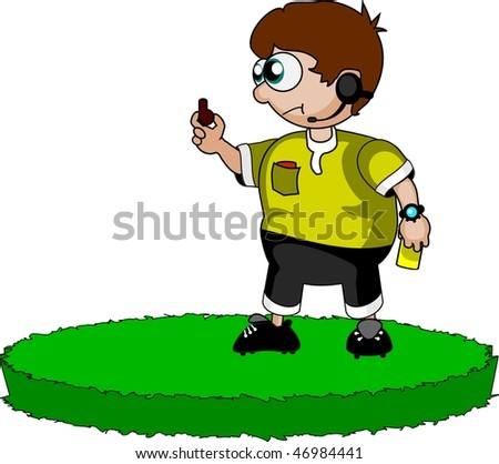 Vector illustration: soccer referee allows penalty kick only after whistle. - stock vector