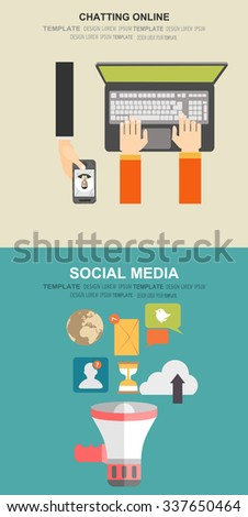 Vector illustration. Social media, chatting. Global communication. Concepts for web banner and printed materials. - stock vector