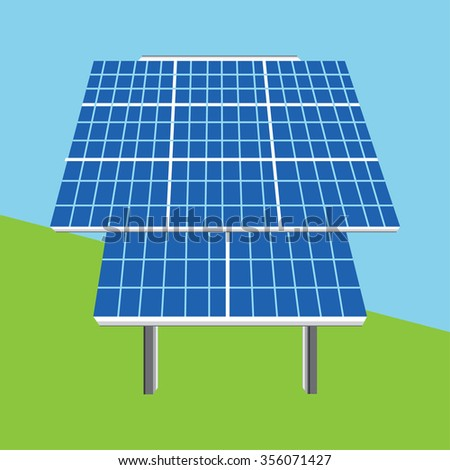 Vector illustration solar panel icon. Photovoltaic electric solar panel. Renewable energy. Ecology energy