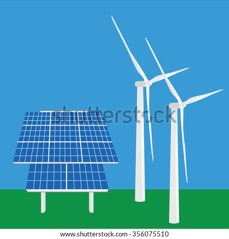 Vector illustration solar panel icon. Photovoltaic electric solar panel. Renewable energy. Ecology energy. Wind turbine - stock vector