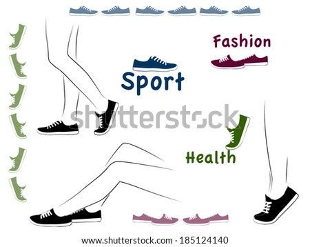 Vector illustration, sport set, sneakers - stock vector