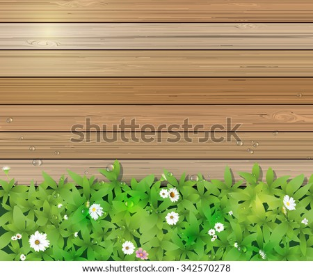 Vector illustration Spring nature background. Green grass and leaf plant, White Gerbera, Daisy flowers and sunlight over wood fence with water dew drops. Blank space for content or your design - stock vector