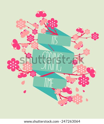 Vector illustration - spring season - cherry blossoms on a background of vintage ribbon with the inscription Spring is coming. - stock vector