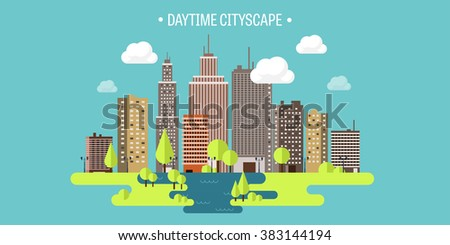 Vector illustration. Spring, summer.a City silhouettes. Cityscape. Town skyline. Panorama. Midtown houses. Summer. - stock vector