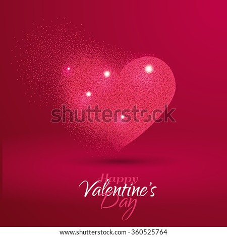 vector illustration St. Valentine's Day heart from brilliant circles festive graphic - stock vector