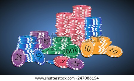 Vector illustration. Stack of colored casino chips. - stock vector
