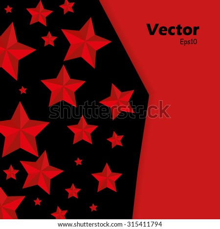 vector illustration stars of on black and red background - stock vector