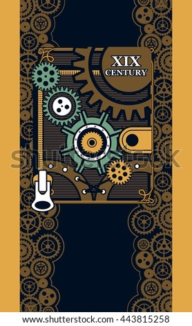 Vector illustration steam punk mechanical engineering iron parts - stock vector