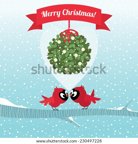 Vector illustration Stock Cardinal Birds kissing under the Christmas mistletoe branch/Birds kissing under a branch of mistletoe Christmas/Birds on a branch kissing under the Christmas mistletoe - stock vector