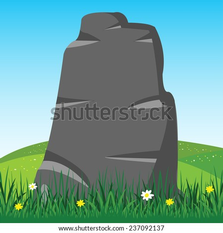 Vector illustration  stone on background blue sky