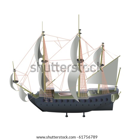 vector illustration, stream ship, card concept, white background.