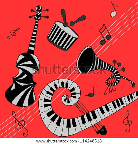 Vector illustration, striped musical instruments, red background, card concept. - stock vector