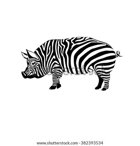 Vector illustration striped pig - stock vector