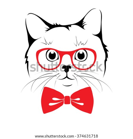 Stylish Cat cat design over white background vector stock vector 273150716