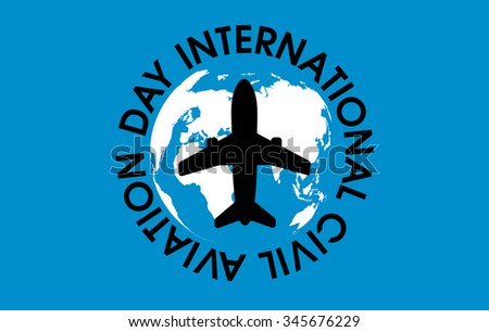 Vector illustration stylized banner world civil stock photo photo vector illustration stylized banner to world civil aviation day with black letters airplane in the gumiabroncs Choice Image