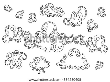 vector illustration stylized clouds a set of images for the design of childrens books colouring