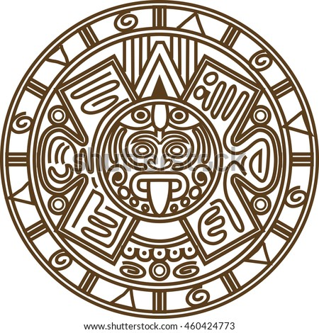 vector illustration stylized image of ancient mayan calendar