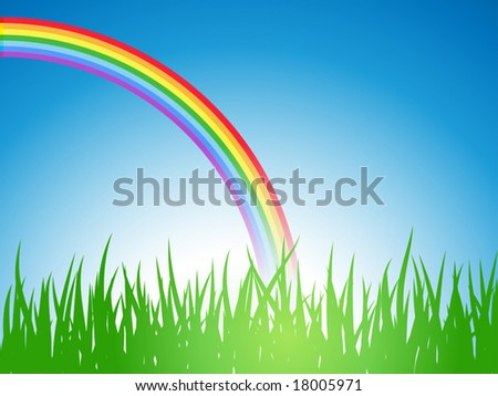 Vector illustration â?? summer field with rainbow - stock vector