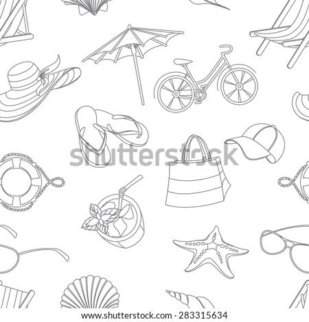 Vector illustration  Summer icons seamless line pattern. Doodle style