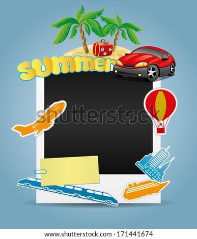 Vector illustration. Summer photo frame. - stock vector