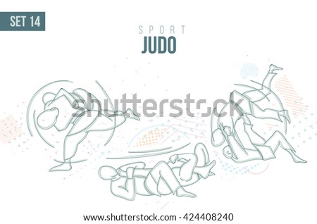 vector illustration Summer Rio Olympic Games, sports games. graphic sport judo . design sports booklets flyers. sports hand-drawn  judo doodles sport. set 14 - stock vector