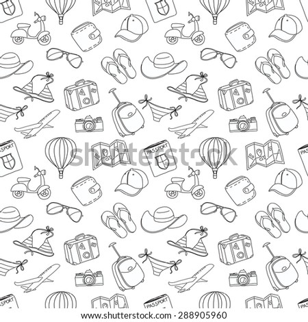 Vector illustration Summer vacation sketch doodle seamless pattern. Black and white - stock vector