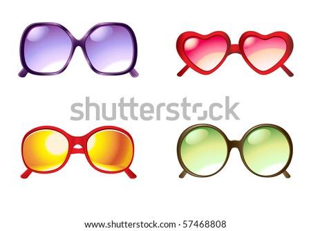 vector illustration sunglasses set - stock vector