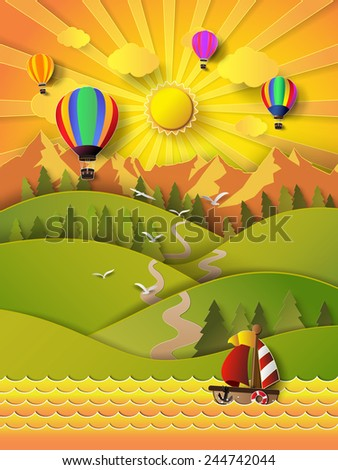 Vector illustration sunrise over mountain. paper cut style. - stock vector