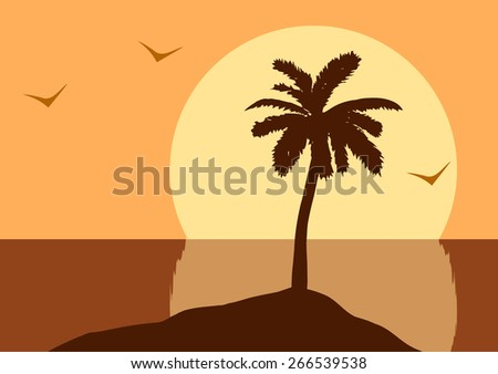 Vector illustration. Sunset in the ocean
