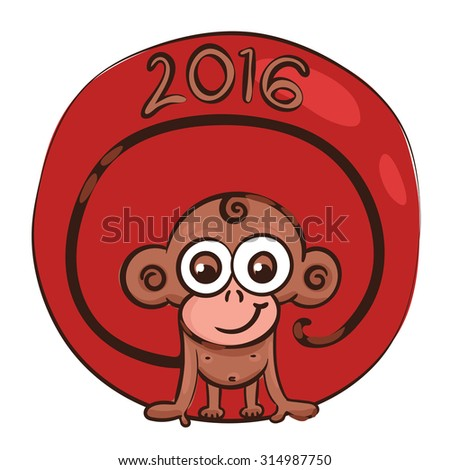 vector illustration, symbol, 2016, smiling monkey with a long tail