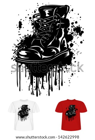 Vector illustration t-shirt design army boot and splashes - stock vector