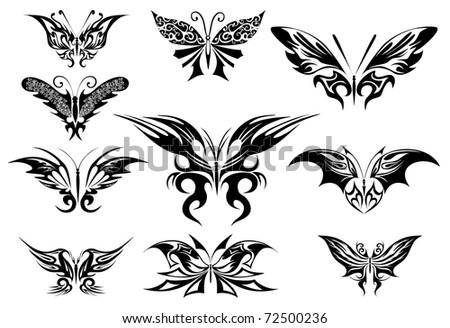 Vector illustration. Tattoo black butterfly - stock vector