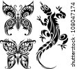 Vector illustration tattoo drawings of butterflies and lizard - stock vector