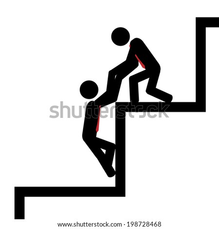 Vector / illustration. Team work to climb the gib stairs. - stock vector