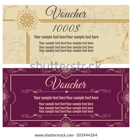 Vector illustration. Template gift card. Background design usable for gift voucher, coupon, invitation, certificate, diploma, ticket etc.